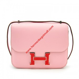 Hermes Constance Bag Calfskin Red Lizard Enamel Hardware In Pink