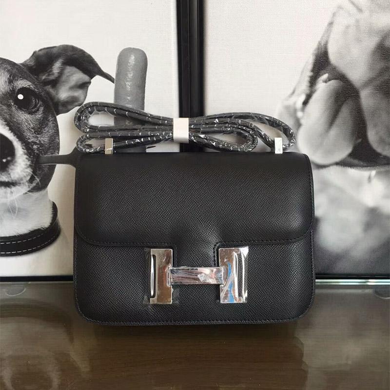 Hermes Constance Bag Epsom Leather Palladium Hardware In Black