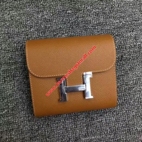 Hermes Constance Compact Wallet Epsom Leather Palladium Hardware In Brown