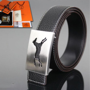 Hermes Constance Running Horse Belt Leather Palladium Hardware In Black