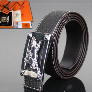 Hermes Constance Wild Horse Belt Leather Palladium Hardware In Black