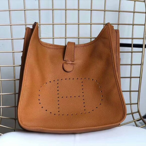 Hermes Evelyne Bag Clemence Leather Palladium Hardware In Brown