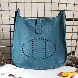 Hermes Evelyne Bag Clemence Leather Palladium Hardware In Teal