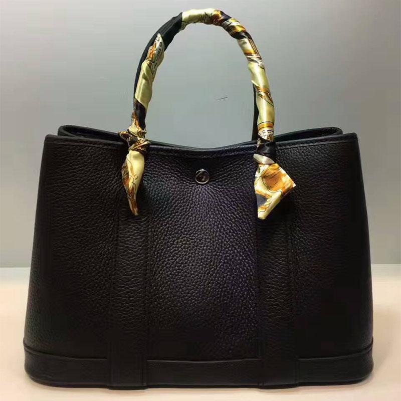 Hermes Garden Party Bag Togo Leather In Black