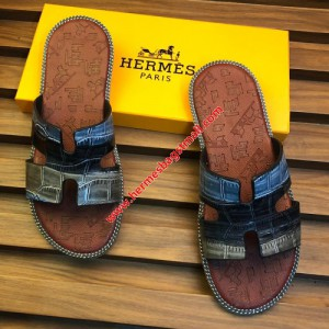 Hermes Izmir Sandal Alligator Embossed Calfskin In Brown