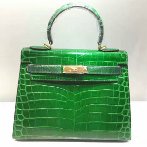 Hermes Kelly Bag Alligator Leather Gold Hardware In Green