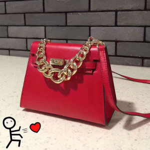 Hermes Kelly Chain Bag Box Leather Gold Hardware In Red