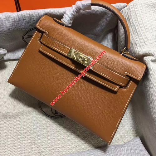 Hermes Kelly II Mini Bag Epsom Leather Gold Hardware In Brown