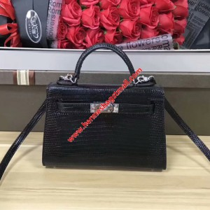 Hermes Kelly Mini Bag Lizard Leather Gold hardware In Black
