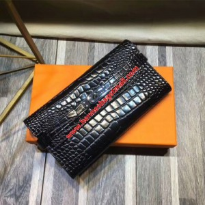 Hermes Kelly Wallet Alligator Leather Palladium Hardware In Black