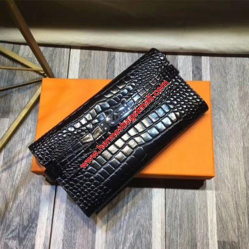 Hermes Kelly Wallet Alligator Leather Palladium Hardware In Black