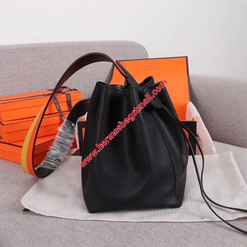 Hermes Licol Bag Evercolor Calfskin Palladium Hardware In Black