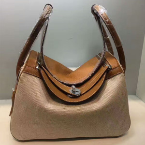 Hermes Lindy Bag Canvas Palladium Hardware In Brown