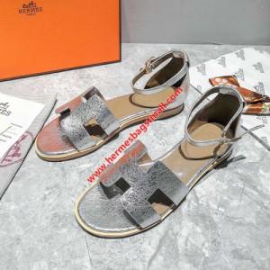 Hermes Santorini Sandal Metallic Calfskin In Silver