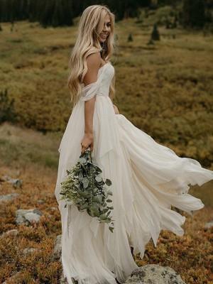 A-formet/Prinsesse Ermeløs Ermeløs Chiffong Folder Gulvlengde Brudekjoler#PO16033PO1439 https:// ...