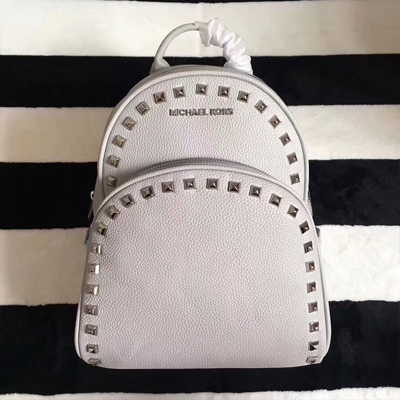 MICHAEL Michael Kors Abbey Studded Leather Backpack White