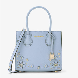 MICHAEL Michael Kors Mercer Floral Embellished Leather Tote Sky Blue