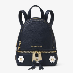 MICHAEL Michael Kors Rhea Mini Floral Applique Leather Backpack Navy Blue