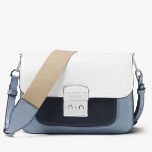 MICHAEL Michael Kors Sloan Editor Color-Block Leather Shoulder Bag Sky Blue/White