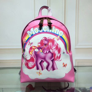 Moschino My Little Pony Women Medium Leather Backpack Pink