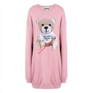 Moschino Paper Bear Women Long Sleeves Minidress Pink