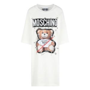 Moschino Safety Pin Teddy Women Short Sleeves Short Dress White