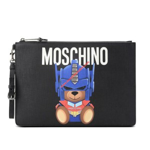 Moschino Transformer Bear Women Leather Clutch Black