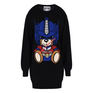 Moschino Transformer Bear Women Long Sleeves Minidress Black