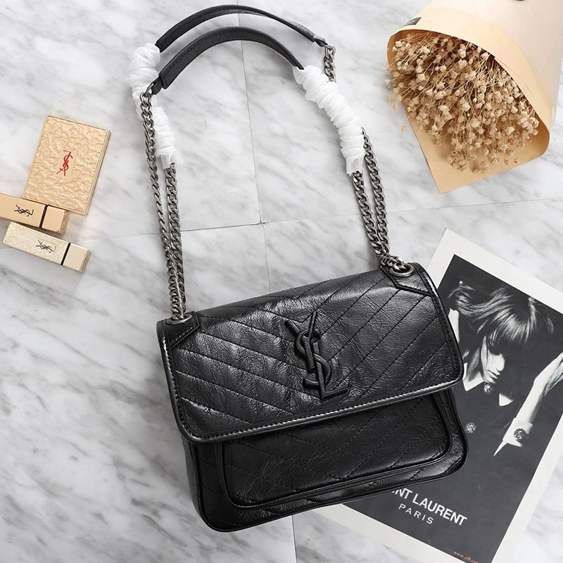 Saint Laurent Baby Niki Chain Bag In Crinkled And Quilted Leather Black