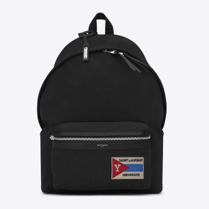 Saint Laurent City Universite Patch Backpack In Canvas Black