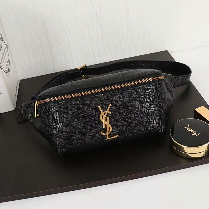Saint Laurent Classic Monogram Belt Bag In Textured Leather Black