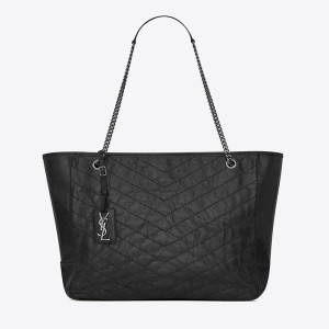Saint Laurent Large Niki Shopping Bag In Crinkled And Quilted Leather Black