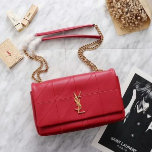 Saint Laurent Medium Jamie Bag In Patchwork Leather Red
