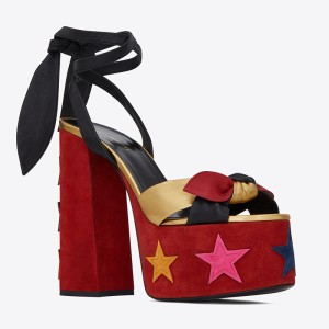 Saint Laurent Paige Sandals In Suede With Stars Patchwork Red
