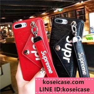 supreme iphonexs max ケース iphoneXR/XS ケース ストラップ付き カード収納 iphone11 pro max ケース ...