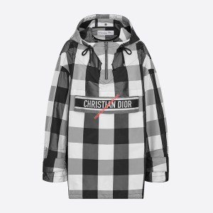 Dior Hooded Anorak In Check Motif Taffeta Black