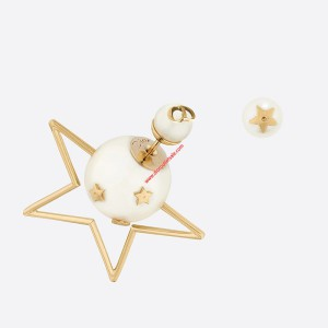 Dior Tribales Star Asymmetric Earrings Gold