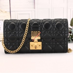 Dioraddict Lambskin Chain Wallet Black