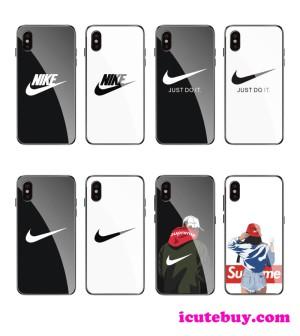 ナイキ iPhoneXR ガラスケース Galaxy S10ケース Nike 白 黒 芸能人愛用 icutebuy.com通販