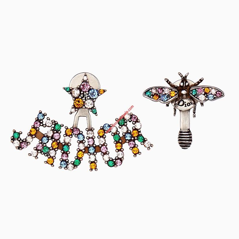 J'Adior Asymmetric Earring with Multicolor Crystal Bee Star Silver
