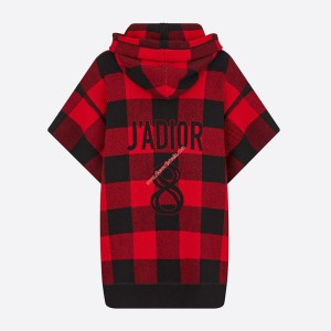 J'Adior 8 Hooded Sweater In Check Motif Cashmere Red