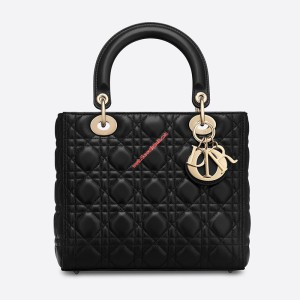 Lady Dior Lambskin Bag Black