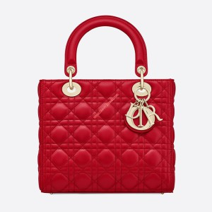 Lady Dior Lambskin Bag Red