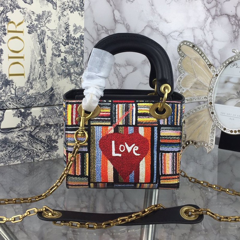 Mini Lady Dior Bag in Embroidered Calfskin Red Heart