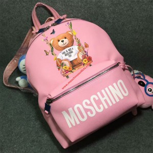 Moschino Botanical Bear Women Large Leather Backpack Pink
