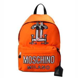 Moschino Clamp Marks Women Large Techno Fabric Backpack Orange