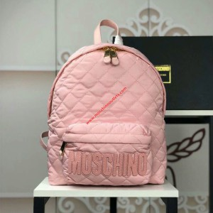 Moschino Logo Women Quilted Techno Fabric Backpack Pink