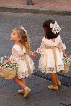 A line Long Sleeve Lace Flower Girl Dresses Above Knee Scoop Bowknot Baby Dress on sale – smilep ...