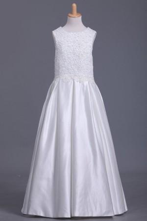 Ball Gown Flower Girl Dresses Scoop Satin Ankle – smilepromdress-es