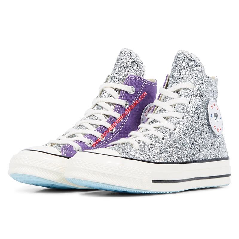 Converse Shoes Chuck 70 x Chiara Ferragni Glitter Canvas High Top Purple